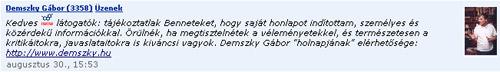 Demszky az iWiW-en üzen